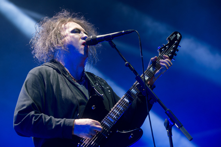 PRAGUE, CZECH REPUBLIC - OCTOBER 22, 2016: Singer and guitarist Robert Smith of The Cure During a performance in Prague, Czech Republic, October 22, 2016. Editorial