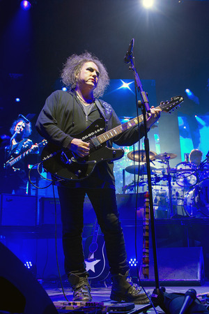 lead guitar: PRAGUE, CZECH REPUBLIC - OCTOBER 22, 2016: Singer and guitarist Robert Smith of The Cure During a performance in Prague, Czech Republic, October 22, 2016. Editorial