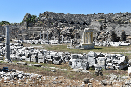 Antique ruins in Side, Turkey Stock Photo