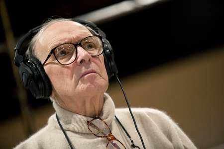 PRAGUE, CZECH REPUBLIC - DECEMBER 12, 2010: Famous Italian music composer Ennio Morricone During his stay in Prague, Czech Republic, December 12, 2010. Editorial