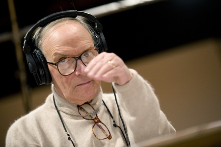 maestro: PRAGUE, CZECH REPUBLIC - DECEMBER 12, 2010: Famous Italian music composer Ennio Morricone During his stay in Prague, Czech Republic, December 12, 2010. Editorial