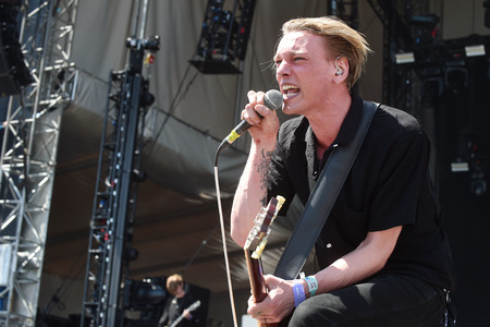 showbusiness: PRAGUE, CZECH REPUBLIC - JUNE 11, 2017: Singer and guitarist Jamie Campbell Bower of Counterfeit during performance at Aerodrome festival in Prague, Czech Republic, June 11, 2017.