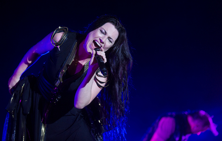 vocalist: Singer Amy Lee of Evanescence during performance at festival Rock for People in Hradec Kralove, Czech republic, July 6, 2017.