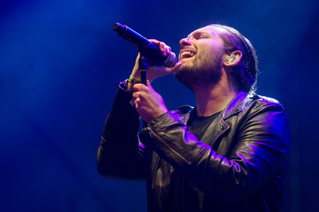 vocalist: Singer Josh Franceschi of You Me at Six during performance at festival Rock for People in Hradec Kralove, Czech republic, July 4, 2017.