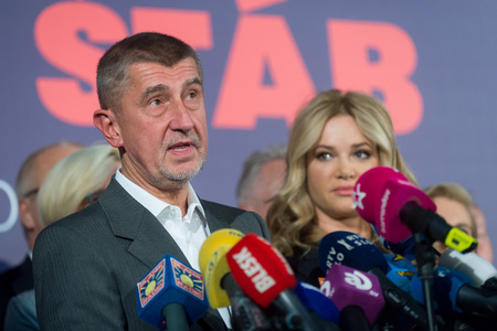PRAGUE, CZECH REPUBLIC - OCTOBER 21, 2017: Andrej Babis, chairman of the political movement YES 2011, speaks to journalists during the press conference after the results of the general elections to the Chamber of Deputies, Prague, Czech Republic, October