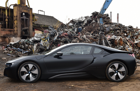 BEROUN, CZECH REPUBLIC - NOVEMBER 2, 2017: Black electric hybrid car BMW i8 in Beroun, Czech republic, November 2, 2017.