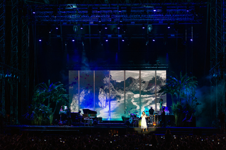 PANENSKY TYNEC, CZECH REPUBLIC - JUNE 29, 2018: Famous American singer Lana Del Rey during her performance at Aerodrome festival in Panensky Tynec, Czech Republic, June 29, 2018. Editorial