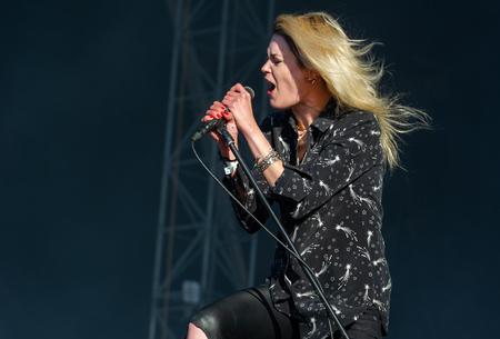 PANENSKY TYNEC, CZECH REPUBLIC - JUNE 30, 2018: Singer Alison Mosshart of The Kills during performance at Aerodrome festival in Panensky Tynec, Czech Republic, June 30, 2018.