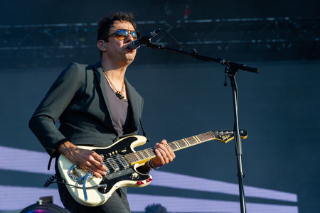 PANENSKY TYNEC, CZECH REPUBLIC - JUNE 30, 2018: Guitarist Jamie Hince of The Kills during performance at Aerodrome festival in Panensky Tynec, Czech Republic, June 30, 2018. Editorial