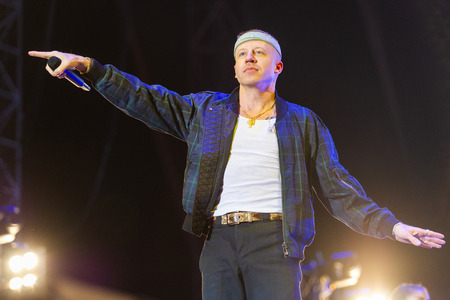 PANENSKY TYNEC, CZECH REPUBLIC - JUNE 30, 2018: American rapper Macklemore during his performance at Aerodrome festival in Panensky Tynec, Czech Republic, June 30, 2018. Editorial