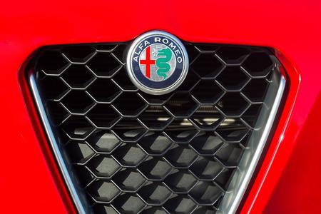 PRAGUE, CZECH REPUBLIC - NOVEMBER 29, 2018: Logo of Alfa Romeo vehicle in Prague, Czech Republic, November 29, 2018. Redactioneel