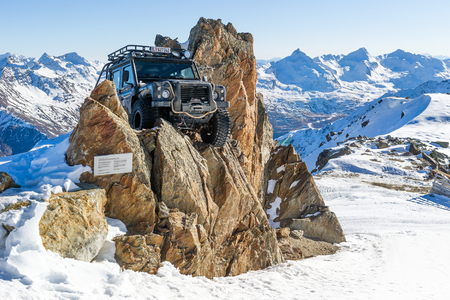 SOLDEN, AUSTRIA - NOVEMBER 16, 2018: Land Rover Defender from James Bond movie Specter near Solden, Austria, November 16, 2018.
