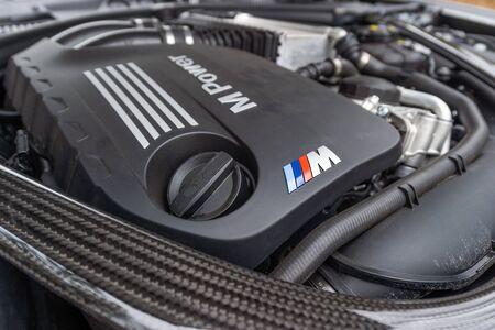 PRAGUE, CZECH REPUBLIC - JANUARY 16, 2019: BMW M2 Competition Engine in Prague, Czech Republic, January 16, 2019. Redactioneel