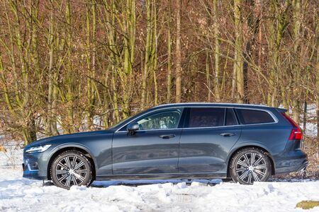 PRAGUE, CZECH REPUBLIC - FEBRUARY 8, 2019: Volvo V60 D4 in Prague, Czech Republic