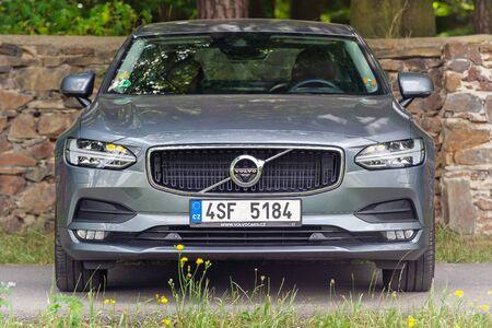 PRUHONICE, CZECH REPUBLIC - JULY 9, 2018: Silver Volvo S90 D5 in Pruhonice, Czech Republic, July 9, 2018.