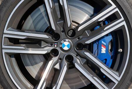 PRAGUE, CZECH REPUBLIC - MAY 13, 2019: Wheel of BMW car in Prague, Czech Republic, May 13, 2019  t