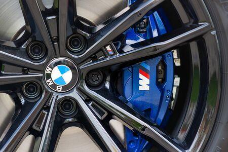 PRAGUE, CZECH REPUBLIC - MAY 7, 2019: Wheel of BMW car in Prague, Czech Republic, May 7, 2019  t