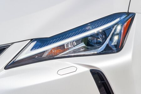 Front light of a white car