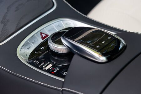 Controllers in a luxurious car Banco de Imagens