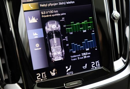 Display of consumption in interior of electric car