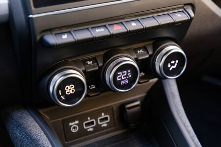 Air-condition controls in interior of a car