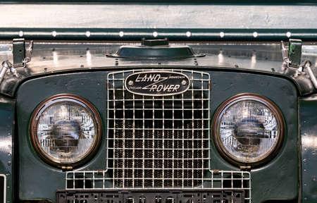 PILSEN, CZECH REPUBLIC - SEPTEMBER 9, 2020: Logo of old Land Rover vehicle in Pilsen, Czech Republic, September 9, 2020 Editorial