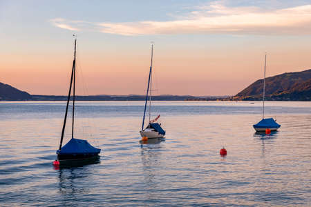 Attersee - lake in Upper Austria during summer evening Stock Photo