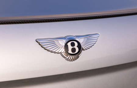 PRAGUE, CZECH REPUBLIC - JANUARY 11, 2021: Logo of Bentley vehicle in Prague, Czech Republic, January 11, 2021