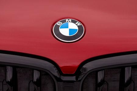 PRAGUE, CZECH REPUBLIC - JANUARY 19, 2021: Logo of BMW vehicle in Prague, Czech Republic, January 19, 2021
