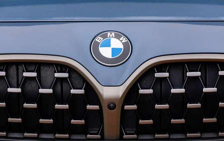 PRAGUE, CZECH REPUBLIC - JANUARY 5, 2021: Logo of BMW vehicle in Prague, Czech Republic, January 5, 2021