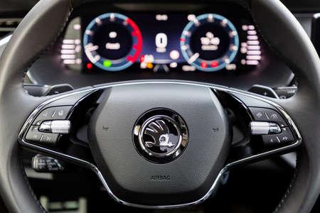 PRAGUE, CZECH REPUBLIC - FEBRUARY 25, 2021: Steering wheel of Skoda vehicle in Prague, Czech Republic, February 25, 2021 Editorial