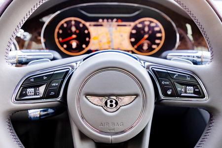 PRAGUE, CZECH REPUBLIC - JANUARY 11, 2021: Steering wheel of Bentley vehicle in Prague, Czech Republic, January 11, 2021 Editorial