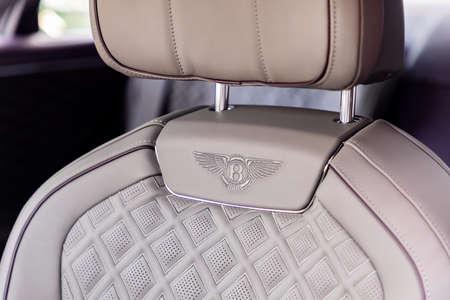PRAGUE, CZECH REPUBLIC - JANUARY 11, 2021: Seat of Bentley vehicle in Prague, Czech Republic, January 11, 2021