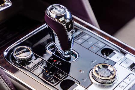 PRAGUE, CZECH REPUBLIC - JANUARY 11, 2021: Gear shift of luxurious Bentley vehicle in Prague, Czech Republic, January 11, 2021