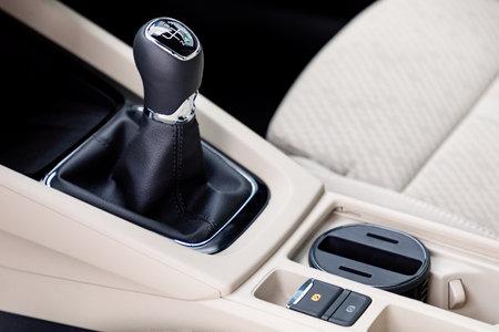 Gear shift in a new modern car Stock Photo