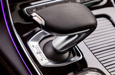 Gear shift in new luxurious car Stock Photo