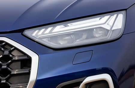 Front light of a blue car, LED technology