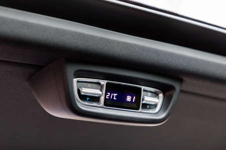 Air-condition control panel in interior of a car