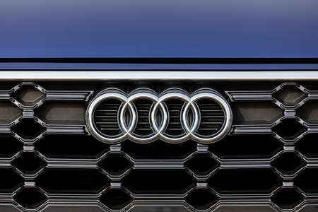 PRAGUE, CZECH REPUBLIC - MAY 9, 2021: Logo of Audi vehicle in Prague, Czech Republic, May 9, 2021 Editorial