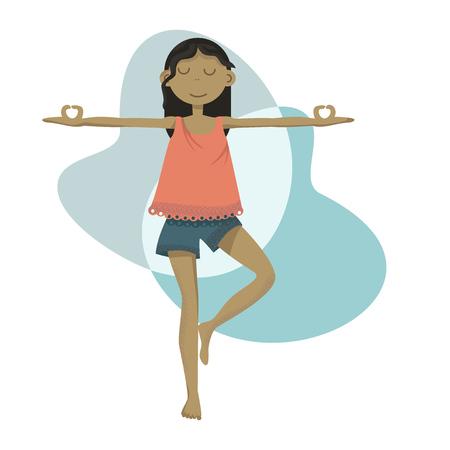 Chica de yoga de pie en una pose haciendo práctica de meditación Ilustración de vector