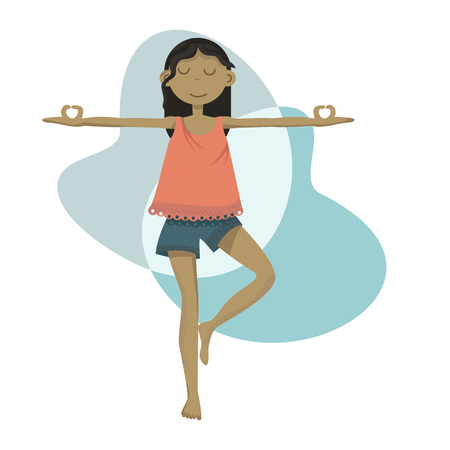 Yoga girl standing in a pose doing meditation practice