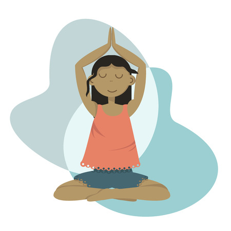 Yoga girl sitting in a pose Ilustrace