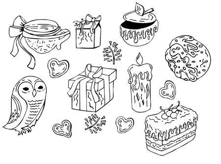 Good elements for cards and posters. Very cute vector doodle signs and symbols of winter season Çizim