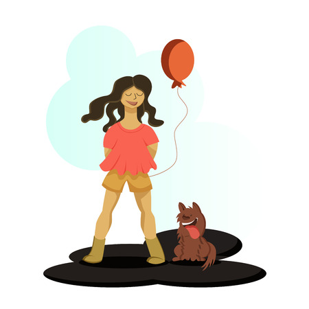 A girl holding a baloon standing with her dog and smiling 向量圖像