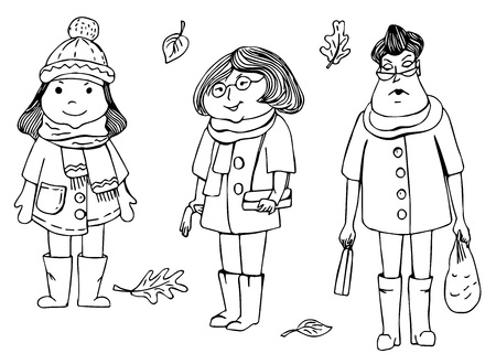 Women in autumn clothes waiting for somebody. Cute funny illustration Illustration
