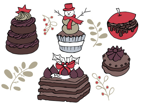 New Year hand drawn doodle illustration of cakes and goodies in very cute childish style for the usage in leaflets, posters and banners