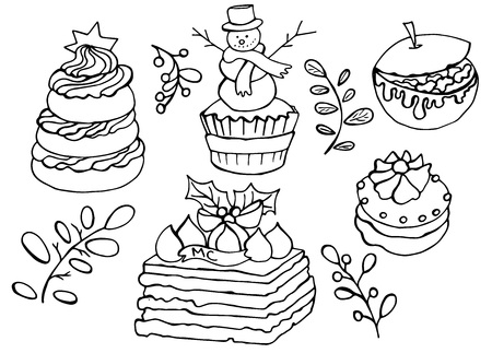 Vector doodle elements for kids coloring book. Hand drawn goodies that are symbols of winter holiday Illusztráció