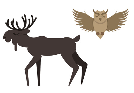 Vector winter animals in cute flat style