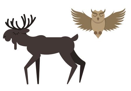 Wektor zwierzęta zimowe w ładnym stylu płaski