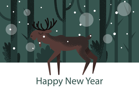 Vector flat drawn stylized illustration with cute character standing in the forest in winter holiday time. There are trees and snow on the background Иллюстрация